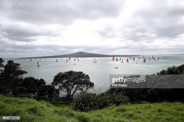 The fleet leaves Auckland Harbour and through the Rangitoto channel at the start of the Coastal Classic on October 20 2017 in Auckland New Zealand...