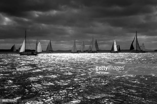 The fleet leaves Auckland Harbour and through the Rangitoto channel at the Start of the Coastal Classic yacht race on October 20 2017 in Auckland New...