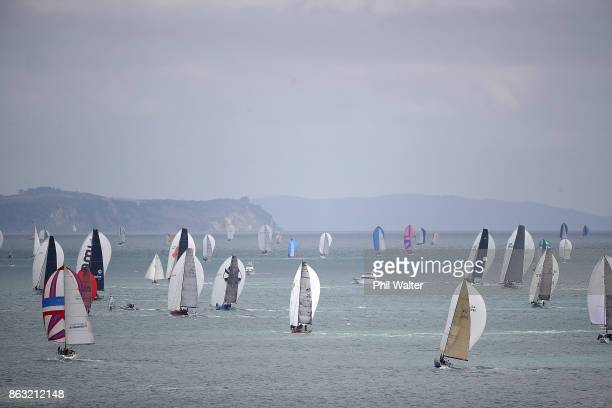 The fleet leaves Auckland Harbour up the Rangitoto channel on October 20 2017 in Auckland New Zealand The Coastal Classic Yacht Race from Devonport...