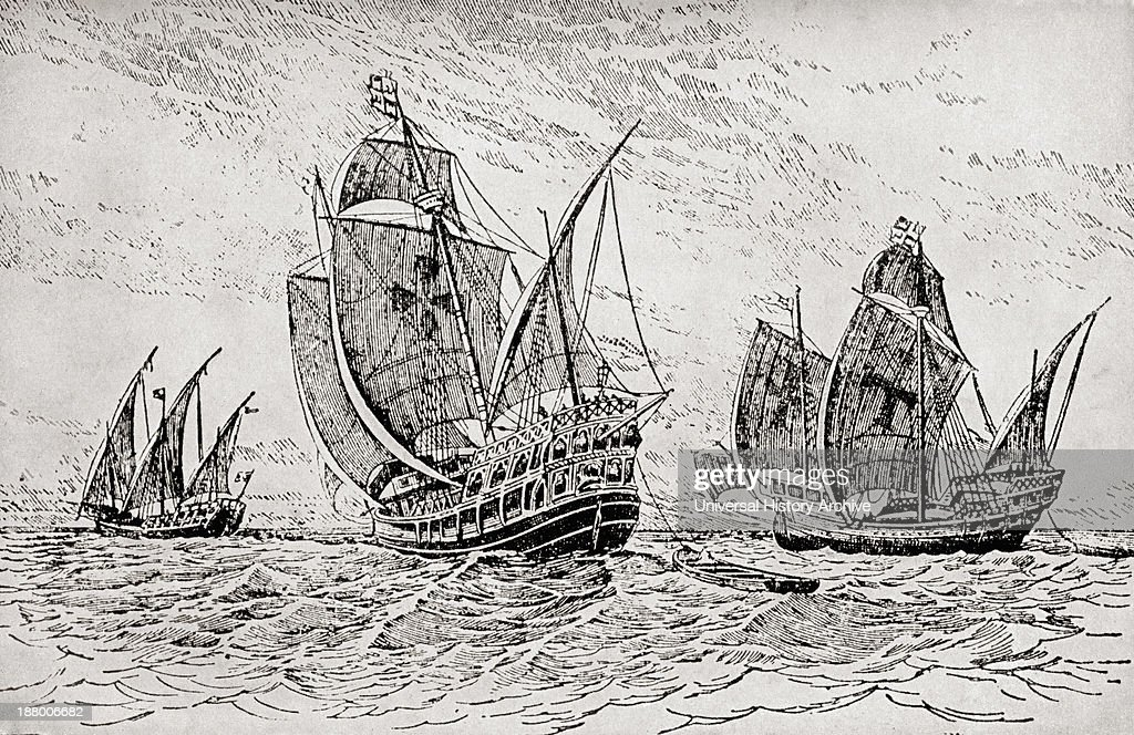 The Fleet Of Columbus The Santa Maria The Pinta And The Nina Christopher Columbus C1451 To 1506 Italian Navigator Colonizer And Explorer From The...
