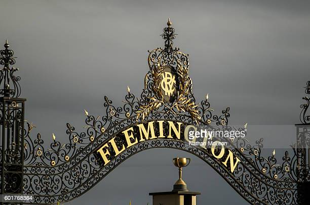 The Flemington winning post in the afternoon light before Let's Elope Stakes at Flemington Racecourse on September 10 2016 in Flemington Australia