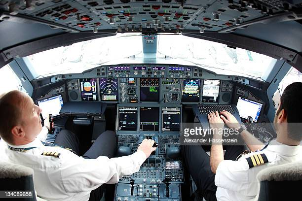 The flight deck of the Emirates Airbus A380 registration A6EDPis pictured at Munich Airport Franz Joseph Strauss on November 25 2011 in Munich...