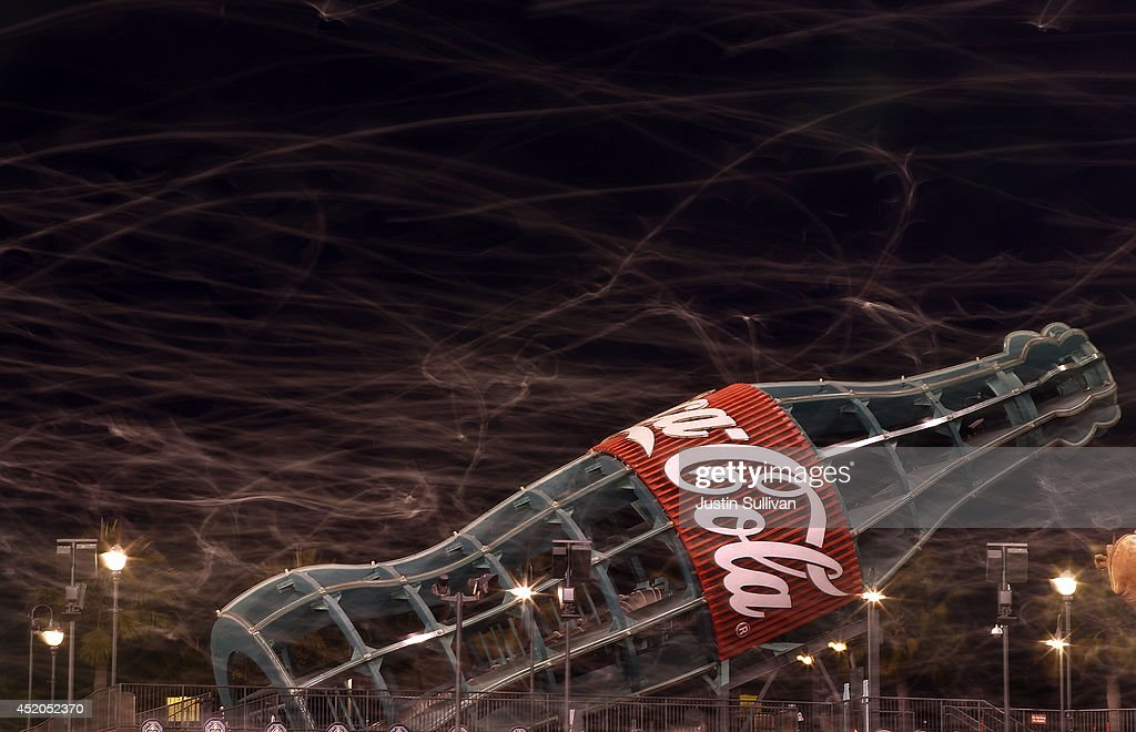 The flight paths of seagulls are seen in a time exposure as they fly over the left field bleachers at the conclusion of the San Francisco Giants baseball game at AT&T Park on July 11, 2014 in San Francisco, California.