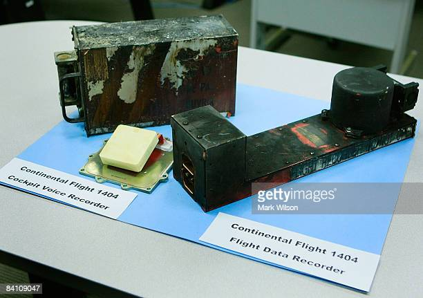 The flight recorders from Continental Airlines flight 1404 are shown at the National Transportation Safety Board headquarters December 22 2008 in...