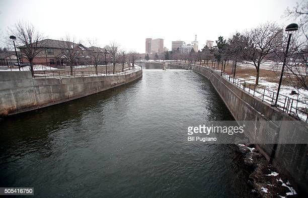 The Flint River flows in downtown January 17 2016 in Flint Michigan US President Barack Obama declared a federal emergency in Michigan which will...