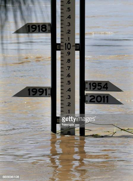 ROCKHAMPTON QLD The flood marker showing the level of floodwaters in Rockhampton Queensland after the Fitzroy River burst its banks in the aftermath...