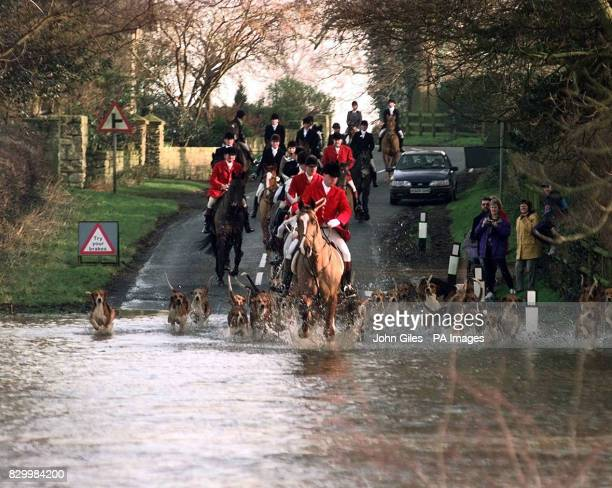 The flooded lanes around York caused by the torrential rain of the week fail to stop the York and Ainsty Hunt from riding out today as the hounds and...