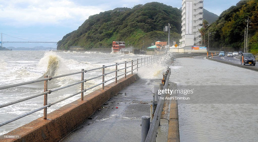 The flooded road is seen as the high tide triggered by Typhoon Sanba on September 17, 2012 in Shimonoseki, Yanaguchi, Japan.