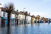 The flooded streets are deserted after Storm Desmond yesterday caused local rivers to breach their banks December 6 2015 in Cockermouth in the county...