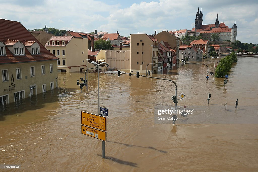 The flooding Elbe river churns past the historic city center on June 6, 2013 in Meissen, Germany. Eastern and southern Germany are suffering under floods that in some cases are the worst in 400 years. At least four people are dead and tens of thousands have evacuated their homes.
