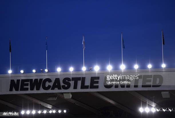 The floodlights are seen on the stadium prior to the Barclays Premier League match between Newcastle United and Manchester United at St James' Park...