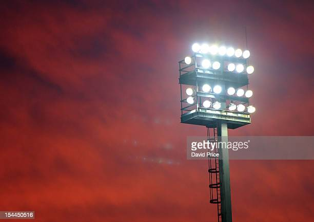 The Floodlights at Carrow Road during the Barclays Premier League match between Norwich City and Arsenal at Carrow Road on October 20 2012 in Norwich...
