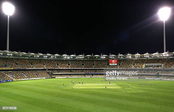 The floodlights illuminate thr ground during the Ford Ranger Cup match between the Queensland Bulls and the Western Australian Warriors at The Gabba...