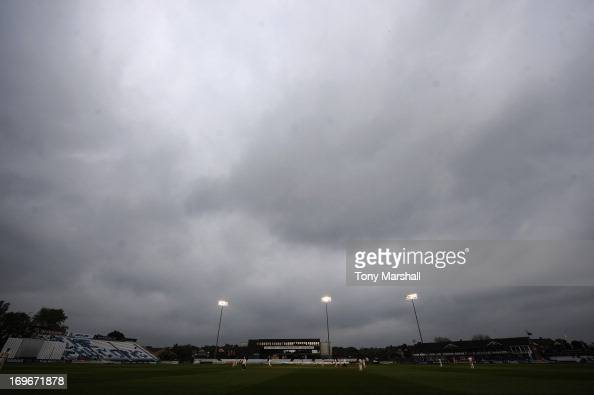 The floodlights on at The County Ground during the LV County Championship Division One match between Derbyshire and Surrey at The County Ground on...