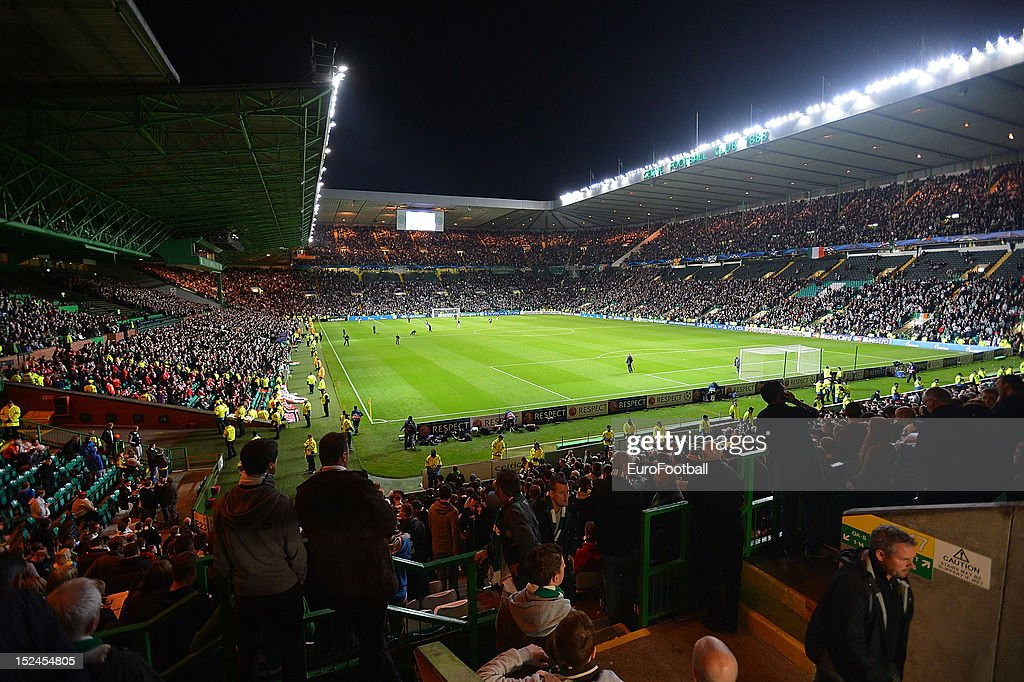 The floodlit pitch at at Celtic Park during the UEFA Champions League group stage match between Celtic FC and SL Benfica on September 19 2012 at...