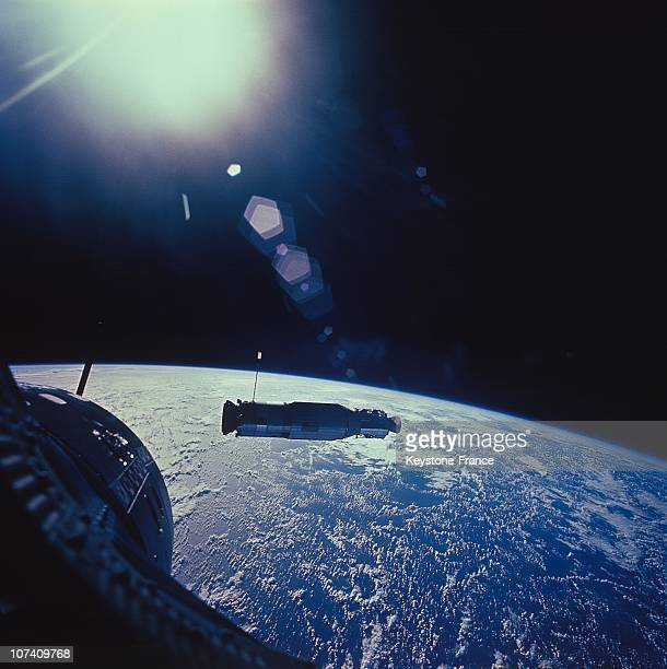 The Floor Targets Agena Seen By The Capsule Gemini During Differentes Phases Of Approach Before The Stowage During The Mission Gemini X On July 1St...