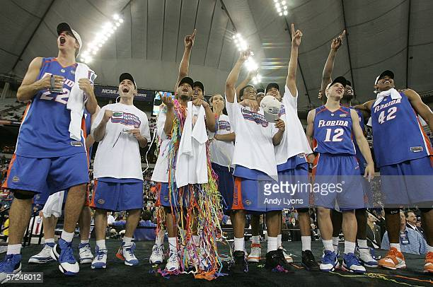 The Florida Gators celebrate after defeating the UCLA Bruins 7357 during the National Championship game of the NCAA Men's Final Four on April 3 2006...