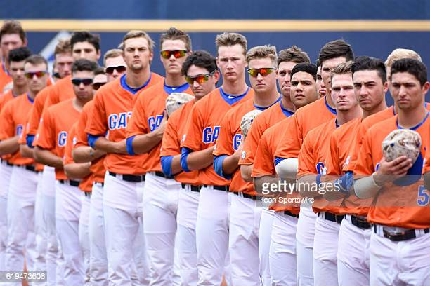 The Florida Gators lined up for the National Anthem prior to the Texas AM 125 win over Florida in the SEC Championship Game at Hoover Metropolitan...