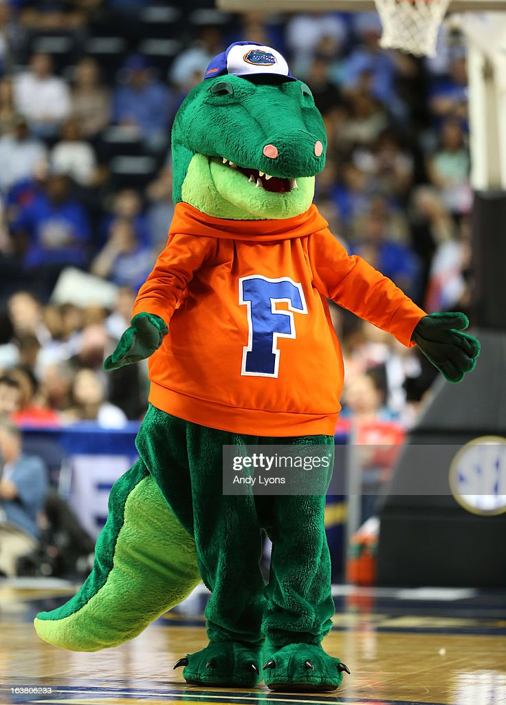 The Florida Gators mascot performs against the Alabama Crimson Tide during the semifinals of the SEC Baketball Tournament at Bridgestone Arena on March 16, 2013 in Nashville, Tennessee.