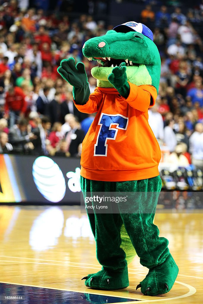 The Florida Gators mascot performs in the first half against the Ole Miss Rebels during the SEC Basketball Tournament Championship game at Bridgestone Arena on March 17, 2013 in Nashville, Tennessee.