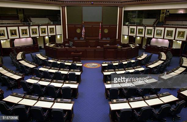 The Florida House of Representatives chamber 06 December at the State Capitol in Tallahassee Florida The State Legislature will convene a special...