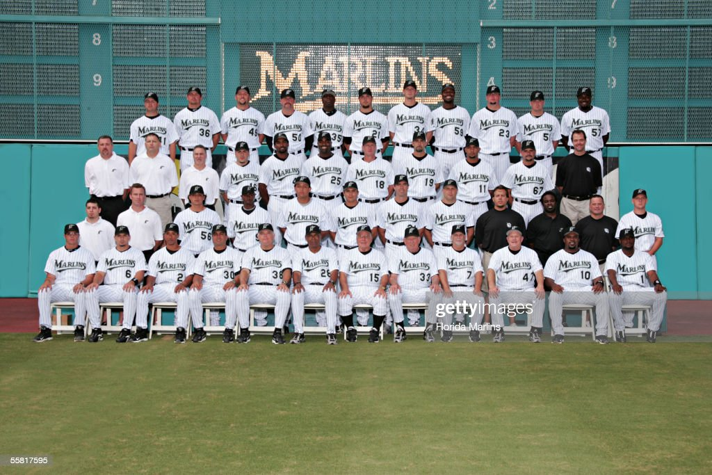 The Florida Marlins pose for the team photo at Dolphins Stadium in September, 2005 in Miami, Florida.