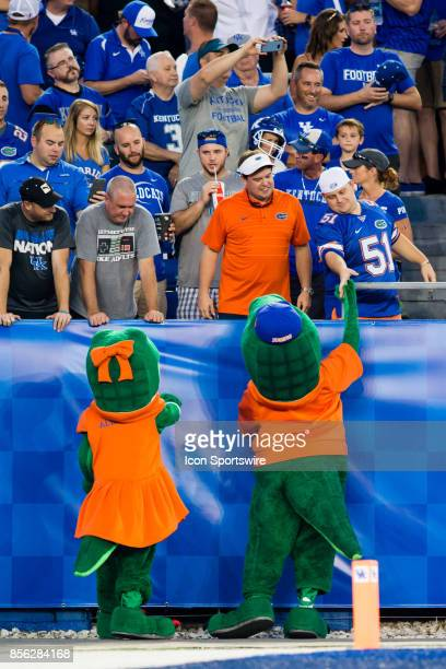 The Florida mascot greeting Florida fans during a regular season college football game between the Florida Gators and the Kentucky Wildcats on...