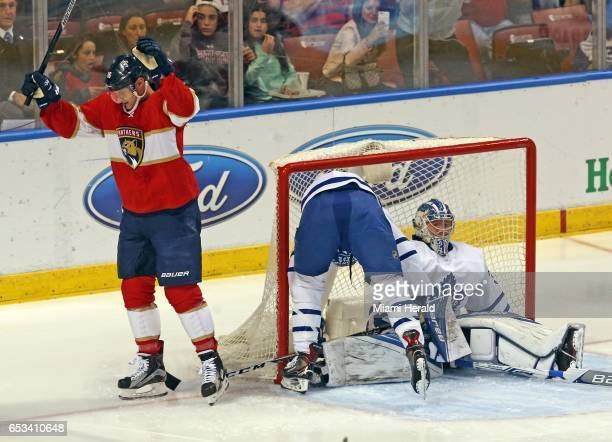 The Florida Panthers' Aleksander Barkov left celebrates after scoring on Toronto Maple Leafs goalie in the first 18 seconds of the first period at...