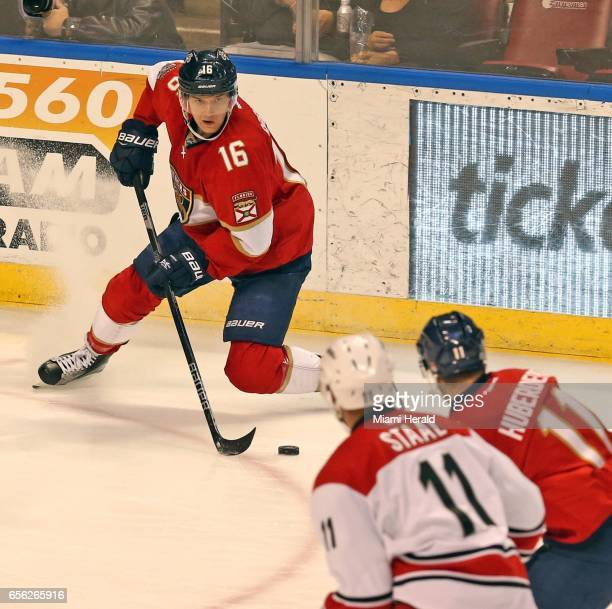 The Florida Panthers' Aleksander Barkov moves the puck against the Carolina Hurricanes in the first period at the BBT Center in Sunrise Fla on...