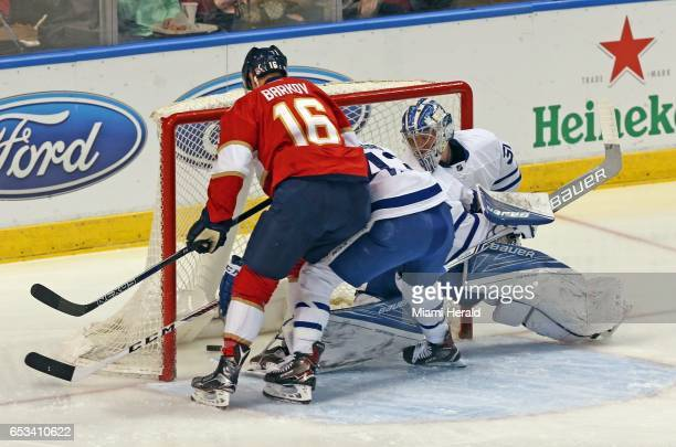 The Florida Panthers' Aleksander Barkov scores on Toronto Maple Leafs goalie Fredrick Andersen in the first 18 seconds of the first period at the BBT...