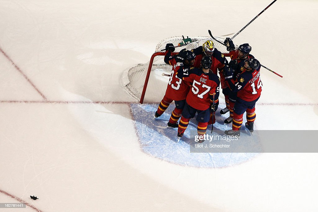 The Florida Panthers celebrate after beating the Pittsburgh Penguins 6-4 at the BB&T Center on February 26, 2013 in Sunrise, Florida.