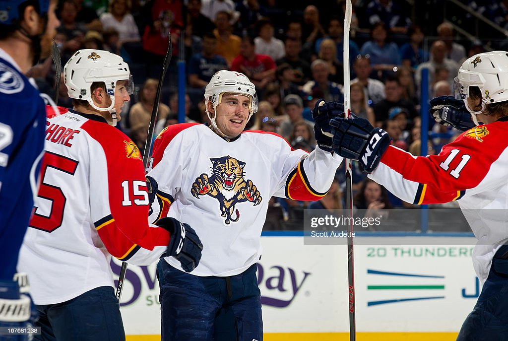 The Florida Panthers celebrate after <a gi-track='captionPersonalityLinkClicked' href=/galleries/search?phrase=Tomas+Fleischmann&family=editorial&specificpeople=554398 ng-click='$event.stopPropagation()'>Tomas Fleischmann</a> #14 scores during the second period of the game against the Tampa Bay Lightning at the Tampa Bay Times Forum on April 27, 2013 in Tampa, Florida.