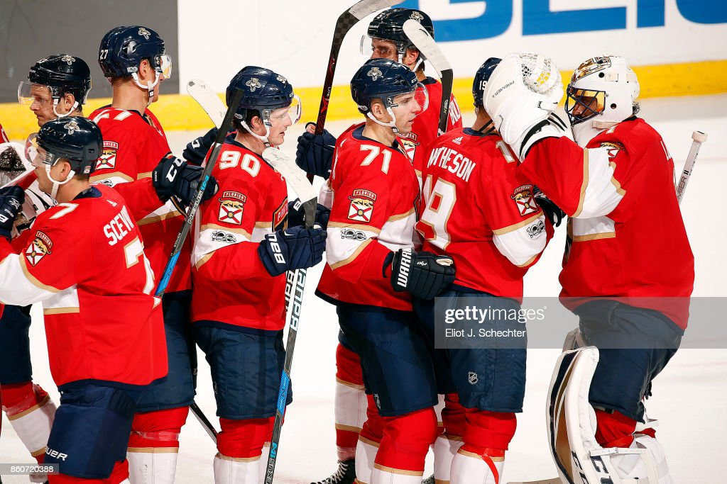The Florida Panthers celebrate their 5-2 win over the St. Louis Blues at the BB&T Center on October 12, 2017 in Sunrise, Florida.