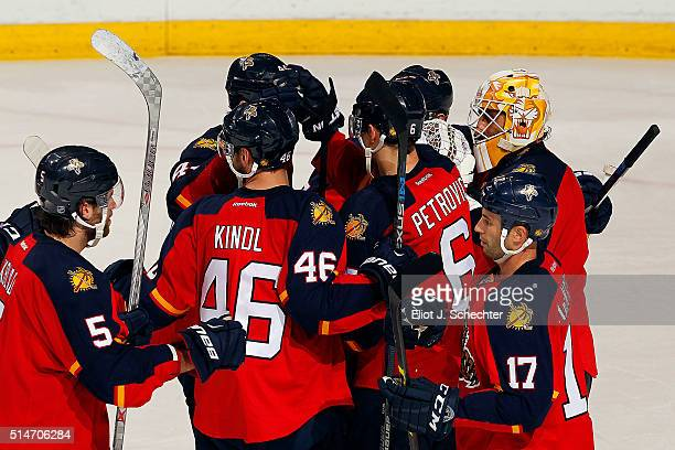 The Florida Panthers celebrate their 62 win over the Ottawa Senators at the BBT Center on March 10 2016 in Sunrise Florida