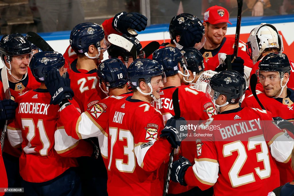 The Florida Panthers celebrate their shoot out win against the Dallas Stars at the BB&T Center on November 14, 2017 in Sunrise, Florida.