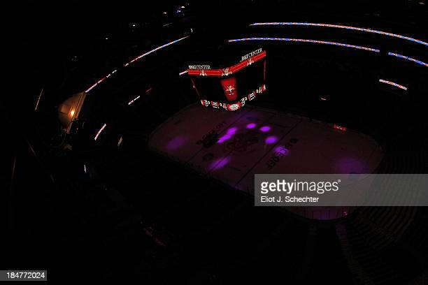 The Florida Panthers face off against the Los Angeles Kings at the BBT Center under the new arena scoreboard on October 13 2013 in Sunrise Florida