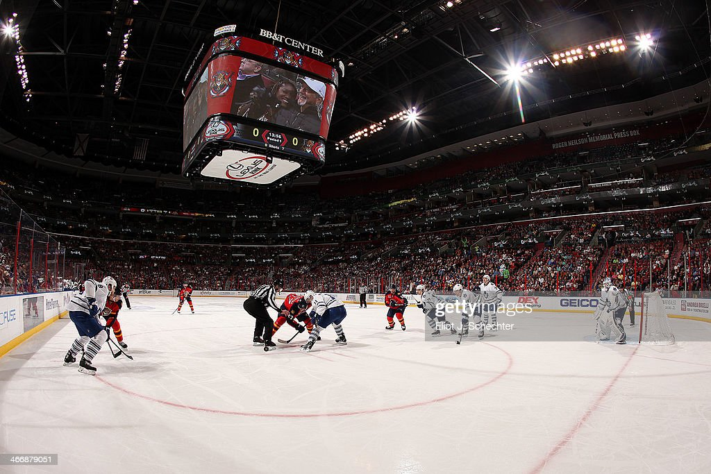 The Florida Panthers face off against the Toronto Maple Leafs at the BB&T Center on February 4, 2014 in Sunrise, Florida.