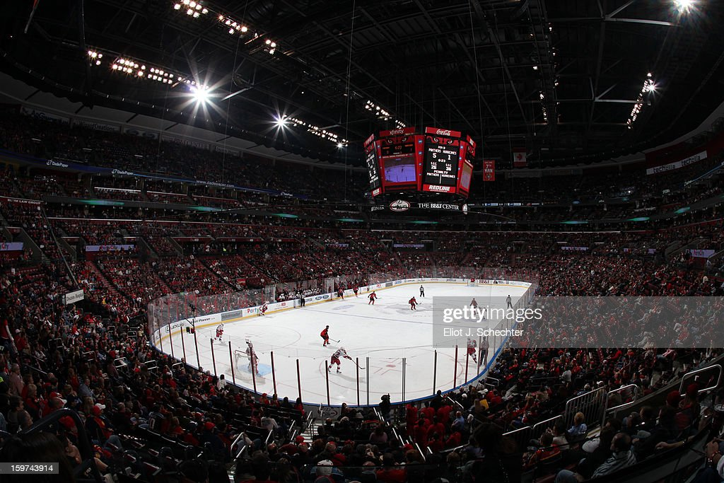 The Florida Panthers face off aginst the Carolina Hurricanes at the BB&T Center on January 19, 2013 in Sunrise, Florida.