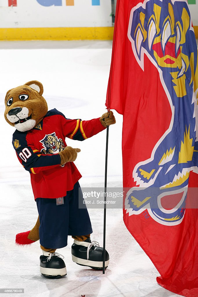 The Florida Panthers Mascot Stanley C. Panther celebrates their 4-1 win against the Toronto Maple Leafs at the BB&T Center on February 4, 2014 in Sunrise, Florida.