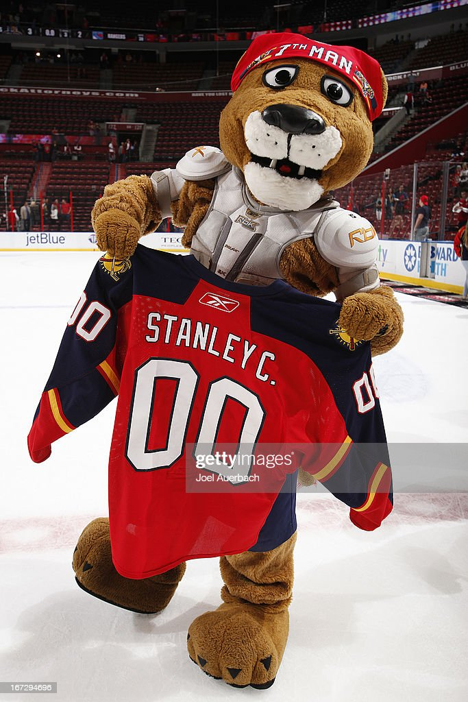 The Florida Panthers mascot 'Stanley C Panther' prepares to give his jersey away after the game against the New York Rangers at the BB&T Center on April 23, 2013 in Sunrise, Florida. The players jerseys were auctioned off for charity. The Panthers defeated the Rangers 3-2.