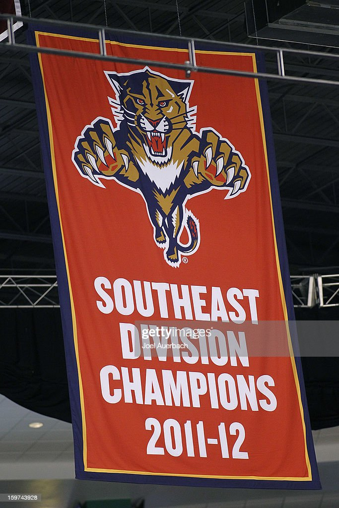 The Florida Panthers raised their 2011-2012 Southeast Division Championship banner prior to the game against the Carolina Hurricanes during the seasons opener at the BB&T Center on January 19, 2013 in Sunrise, Florida.The Panthers defeated the Hurricanes 5-1.