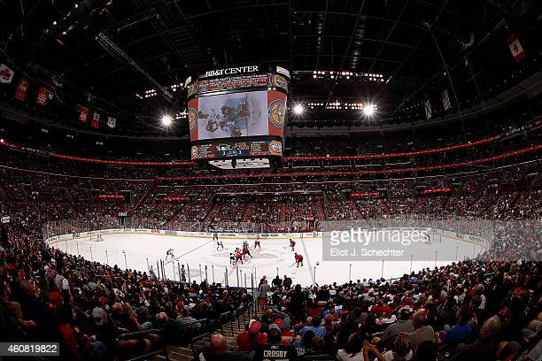 The Florida Panthers take on the Pittsburgh Penguins during overtime at the BBT Center on December 22 2014 in Sunrise Florida