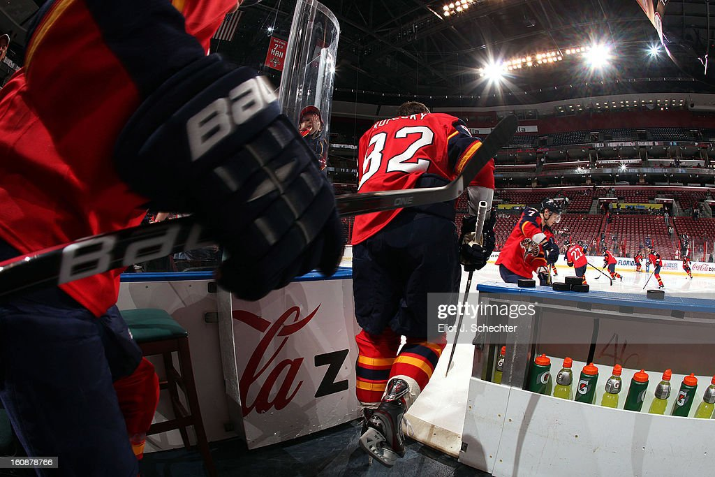 The Florida Panthers take the ice prior to the start of the game against the Winnipeg Jets at the BB&T Center on January 31, 2013 in Sunrise, Florida.