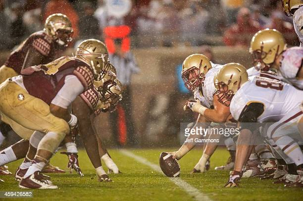 The Florida State Seminoles and the Boston College Eagles set their lines during the game at Doak Campbell Stadium on November 22 2014 in Tallahassee...
