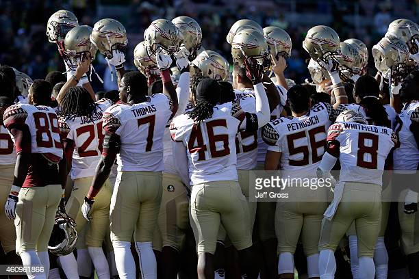 The Florida State Seminoles huddle on the field prior to the College Football Playoff Semifinal at the Rose Bowl Game presented by Northwestern...
