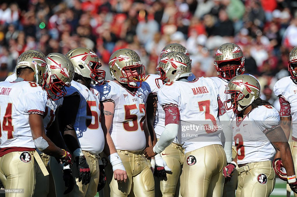 The Florida State Seminoles huddle up during the game against the Maryland Terrapins at Byrd Stadium on November 17, 2012 in College Park, Maryland.