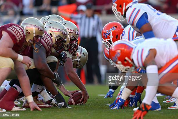 The Florida State Seminoles line up against the Florida Gators during a game at Doak Campbell Stadium on November 29 2014 in Tallahassee Florida