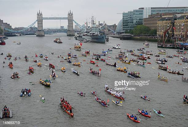 The flotilla of 1000 boats sails towards Tower Bridge during the Diamond Jubilee Thames River Pageant on June 3 2012 in London England For only the...