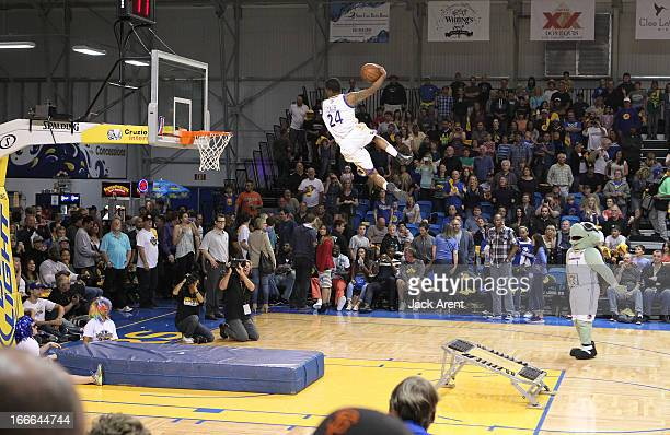 The Flying Dubs dunk team performs for the Santa Cruz fans during the Santa Cruz Warriors Fort Wayne Mad Ants game during the first round of the NBA...