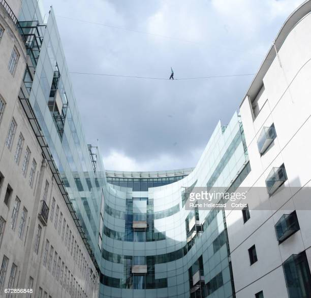 The Flying Frenchies stars of 'The Free Man' rehearse their highline walk stunt at BBC Broadcasting House on April 25 2017 in London England